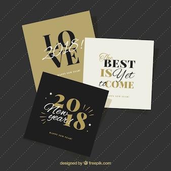 Belle collection de cartes de voeux carrés de la nouvelle année