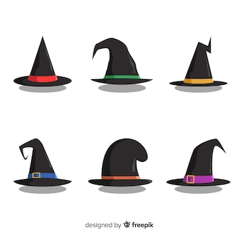 Belle collection de chapeau de sorcière dessiné à la main