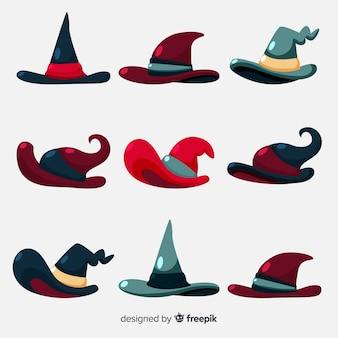 Belle collection de chapeau de sorcière dessiné à la main