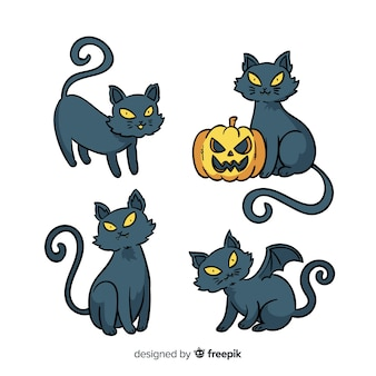 Belle collection de chat d'halloween dessiné à la main
