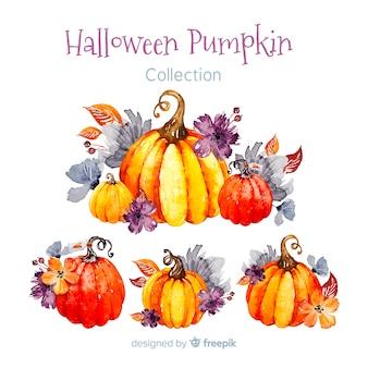 Belle collection de citrouille halloween aquarelle