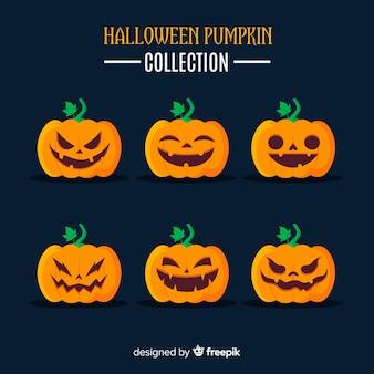 Belle collection de citrouille d'halloween avec un design plat