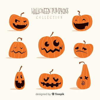 Belle collection de citrouilles d'halloween dessinées à la main