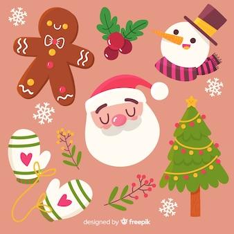 Belle collection d'éléments de Noël dessinés à la main