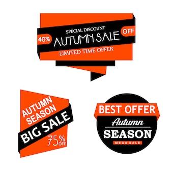 Belle collection d'étiquettes d'automne aquarelle