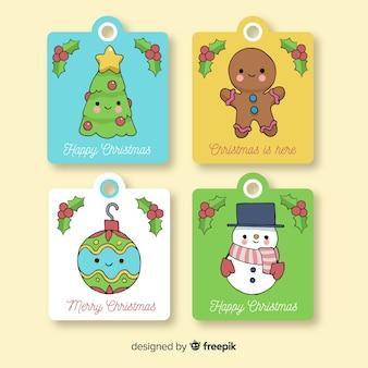 Belle collection d'étiquettes de Noël dessinée à la main