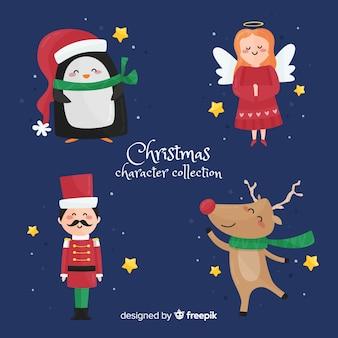 Belle collection de personnages de Noël avec design plat