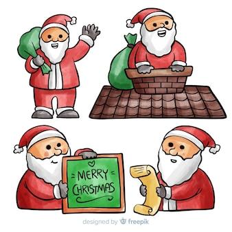 Belle collection de personnages du père Noël à l'aquarelle