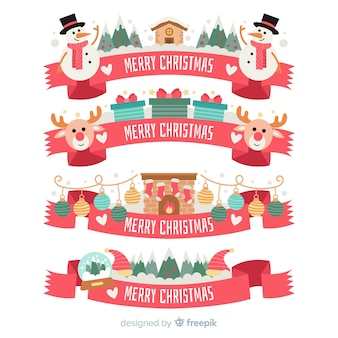 Belle collection de rubans de Noël avec design plat