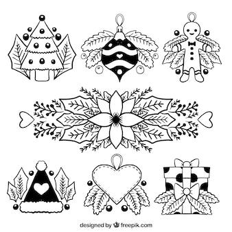 Belle collection de décoration de noël dessiné à la main