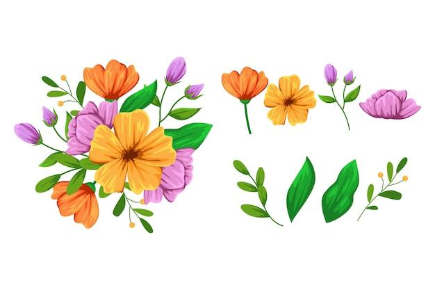 Belle collection détaillée de fleurs de printemps