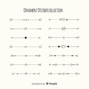 Belle collection de diviseurs d'ornement dessinés à la main