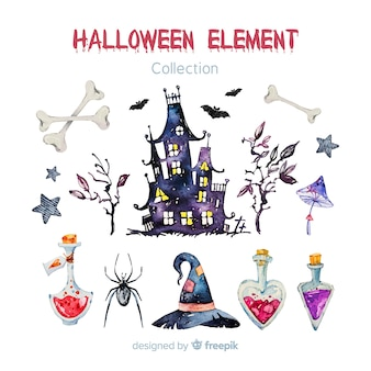 Belle collection d'éléments aquarelle halloween