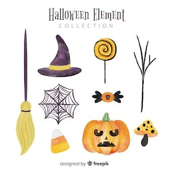 Belle collection d'éléments aquarelle halloween