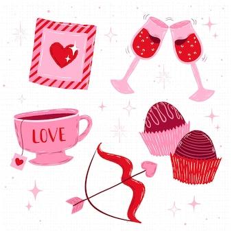 Belle collection d'éléments de la saint-valentin
