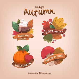 Belle collection d'étiquettes d'automne dessinée à la main