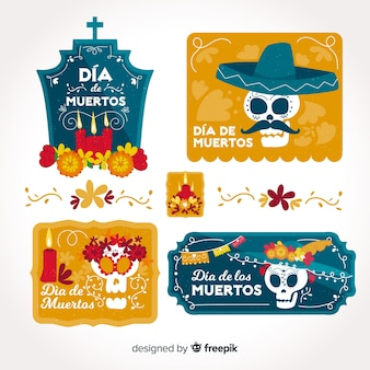 Belle collection d'étiquettes dia de muertos