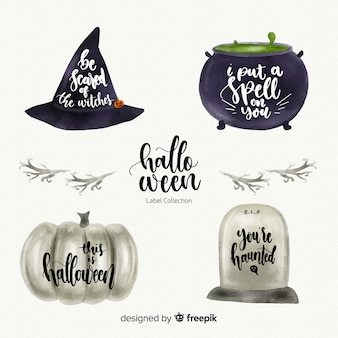 Belle collection d'étiquettes halloween aquarelle
