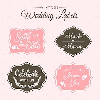 Belle collection d'étiquettes de mariage vintage