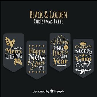Belle collection d'étiquettes de noël noires et dorées