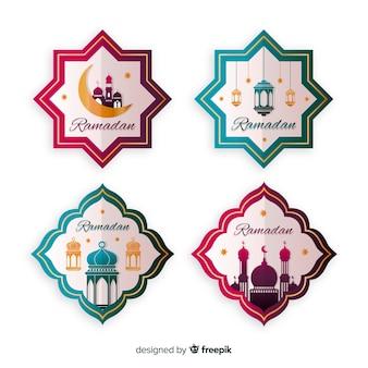 Belle collection d'étiquettes de ramadan