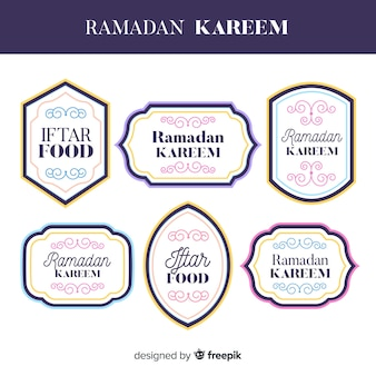 Belle collection d'étiquettes de ramadan