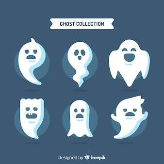 Belle collection de fantômes d'halloween avec un design plat