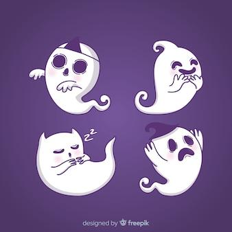 Belle collection de fantômes d'halloween dessinés à la main