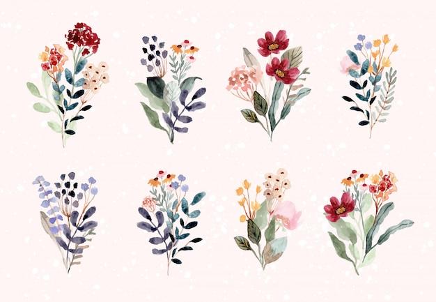 Belle collection de fleurs aquarelle bouquet