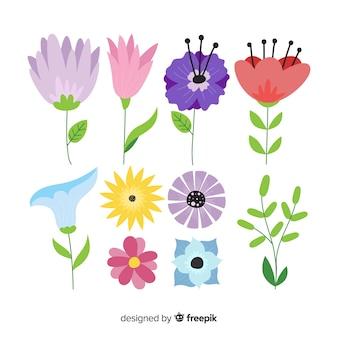 Belle collection de fleurs avec un design plat