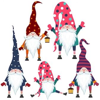 Belle collection de gnomes au design plat. articles isolés vecteur