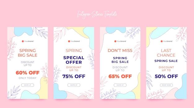 Belle collection d'histoires instagram de vente de printemps