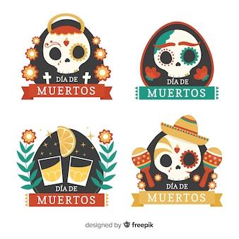 Belle collection d'insignes de fête mexicaine avec un design plat