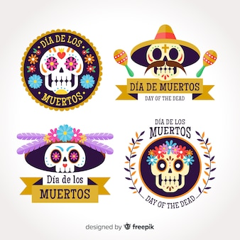 Belle collection d'insignes de fête mexicaine avec un design plat