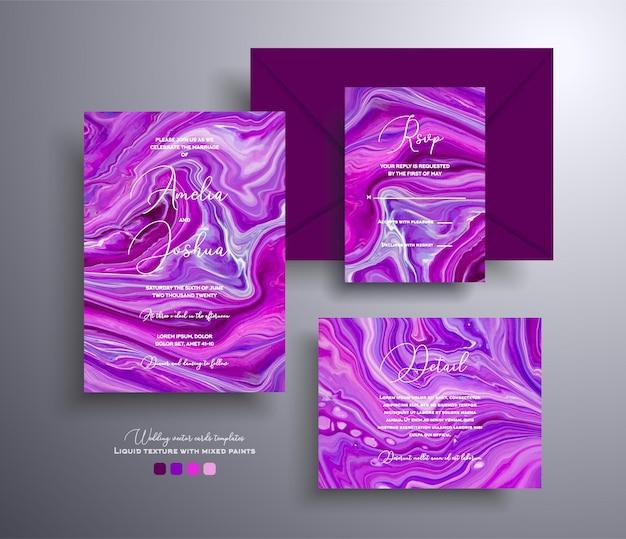 Belle collection d'invitations de mariage avec des couvertures vectorielles en agate motif pierre avec effet marbré ...