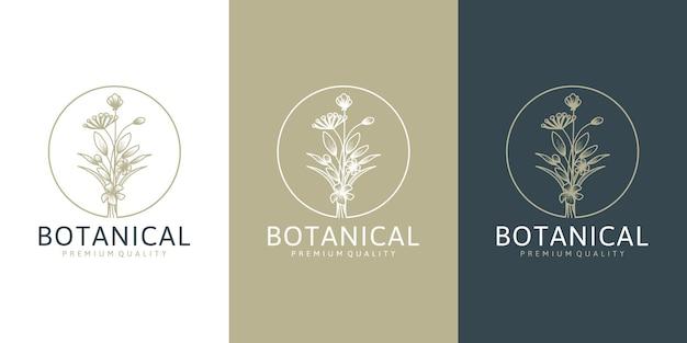 Belle collection de logotypes floraux de fleurs dans un style minimal