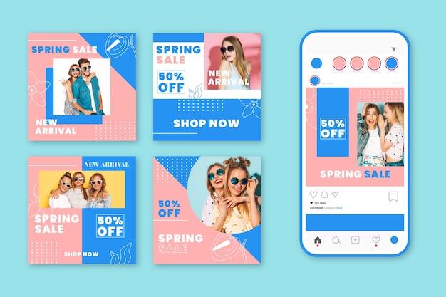 Belle collection de messages instagram de vente de printemps