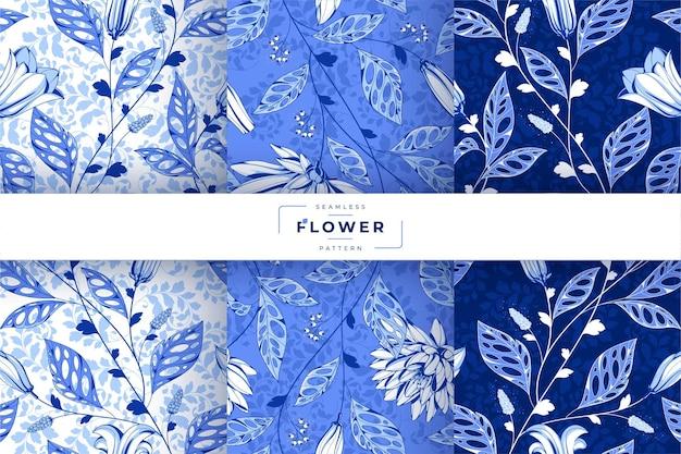 Belle collection de motifs floraux d'encre bleue