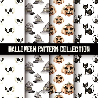 Belle collection de motifs halloween aquarelle