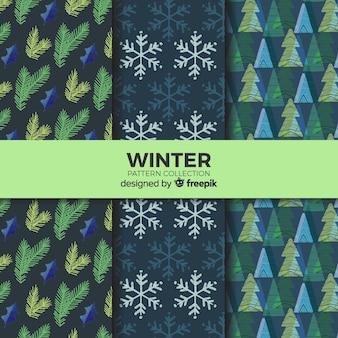Belle collection de motifs d'hiver