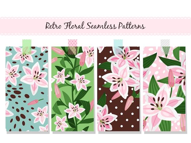 Belle collection de motifs de lys rose