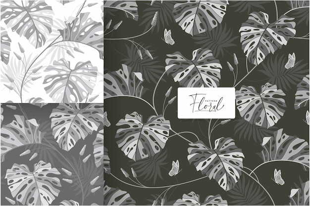 Belle collection de motifs monstera en niveaux de gris