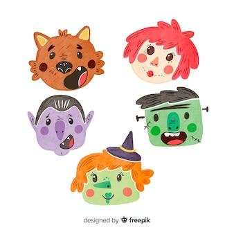 Belle collection de personnages de halloween aquarelle