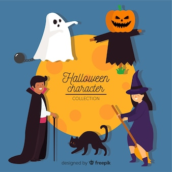 Belle collection de personnages d'halloween au design plat