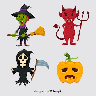 Belle collection de personnages d'halloween au design plat