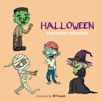 Belle collection de personnages de halloween dessinés à la main