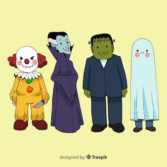 Belle collection de personnages d'halloween dessinés à la main