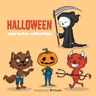 Belle collection de personnages d'halloween dessinés à la main