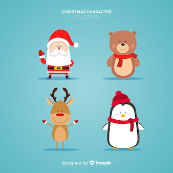Belle collection de personnages de noël avec design plat