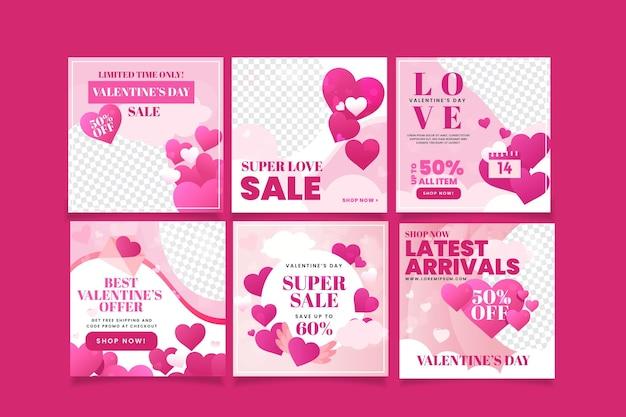Belle collection de poteaux de vente de la saint-valentin